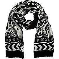 Black geometric print lightweight scarf