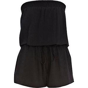 Black bandeau waisted playsuit