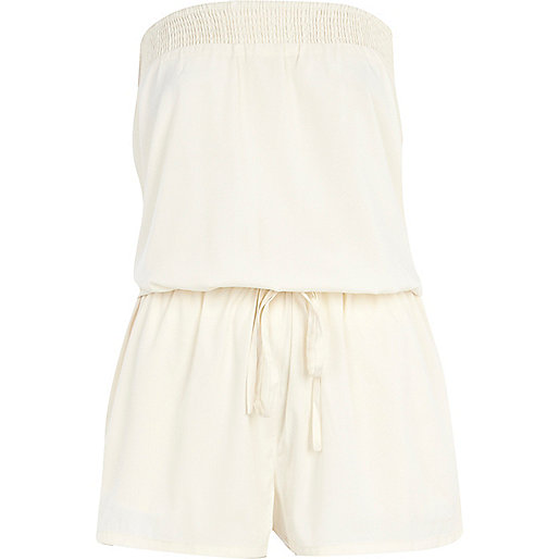 Cream bandeau waisted playsuit