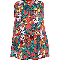 Red tropical print bandeau waisted playsuit