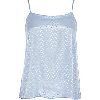 Light blue polka dot cami top