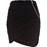 Black draped tulip mini skirt