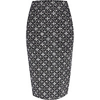 Silver geometric print tube skirt