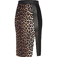 Brown animal print colour block wrap skirt