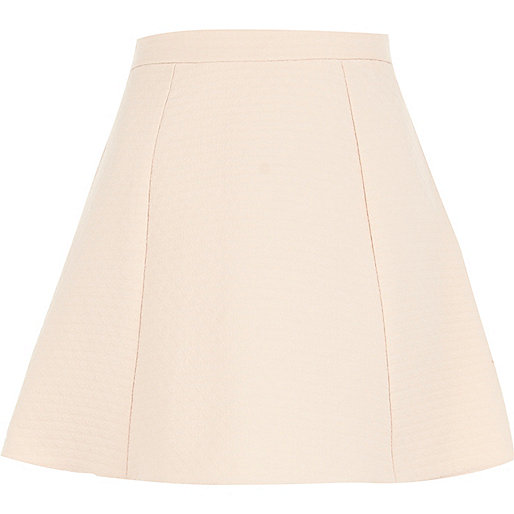 Light pink structured skater skirt