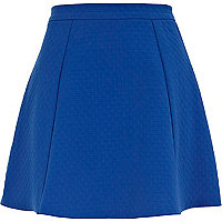 Blue textured skater skirt