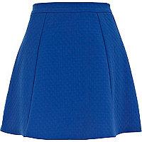 Blue textured skater skirt