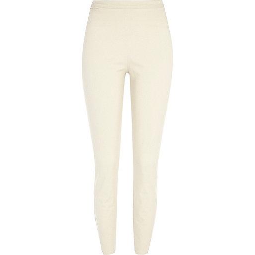 Beige skinny ankle grazer trousers