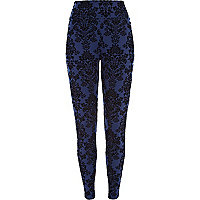 Navy flocked print high waisted leggings