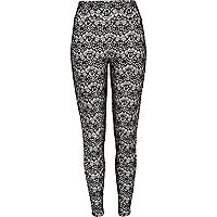 White flocked print high waisted leggings