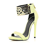 Lime metal cuff barely there sandals