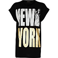 Black New York print oversized t-shirt