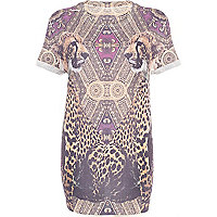 Brown baroque leopard print oversized t-shirt