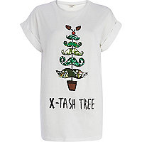 White x-tash tree sequin t-shirt