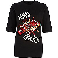 Black x-mas cracker sequin t-shirt
