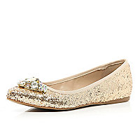 Gold glitter gem stone ballet pumps
