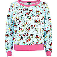 Blue Christmas Mickey Mouse print sweatshirt