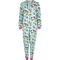 Blue Christmas Mickey Mouse print onesie
