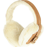 Beige faux fur buckle trim earmuffs