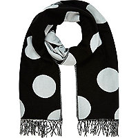 Blue polka dot reversible blanket scarf
