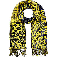 Yellow Tiger print blanket scarf