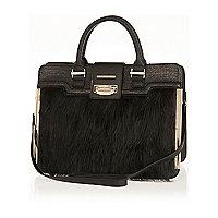 Black faux fur structured tote bag