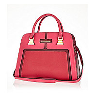 Pink colour block mini tote bag