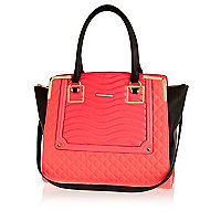 Neon pink quilted tote bag