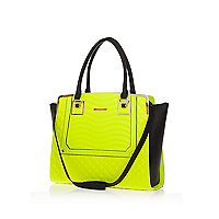 Neon yellow quilted tote bag