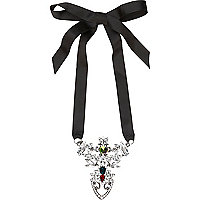 Black ornate gem stone ribbon necklace