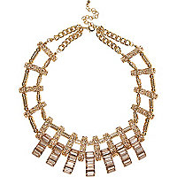 Pink encrusted curved link necklace