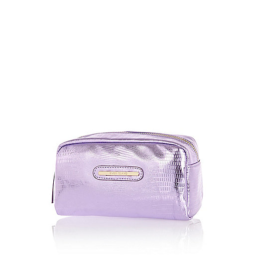 Purple metallic croc make up bag