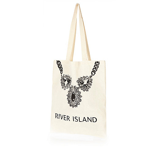 Beige RI jewel print cotton shopper bag