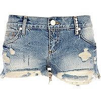 Mid wash ripped diamante denim shorts