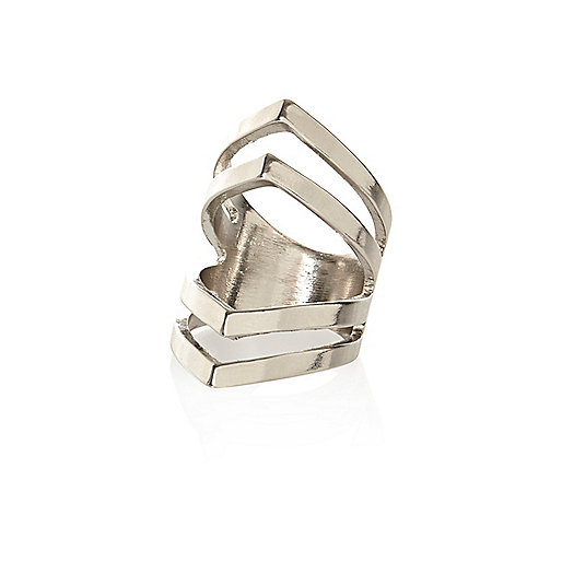 Silver tone geometric cut out knuckle ring