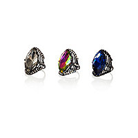 Mixed gem stone cocktail rings pack