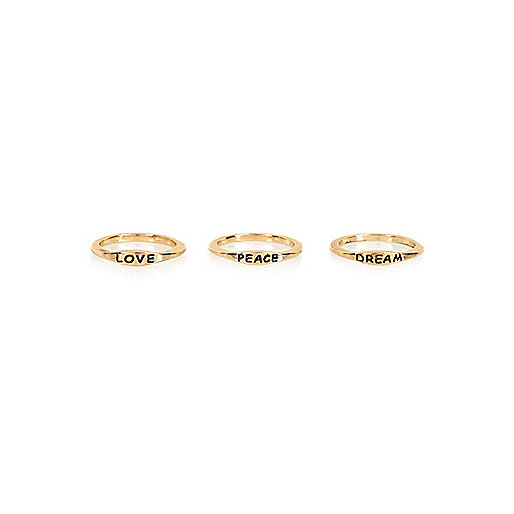 Gold tone love peace dream ring pack
