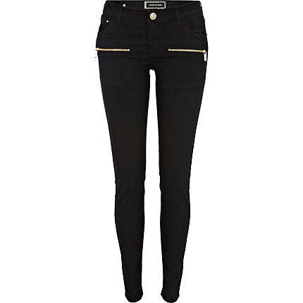 Black superskinny zip jeans