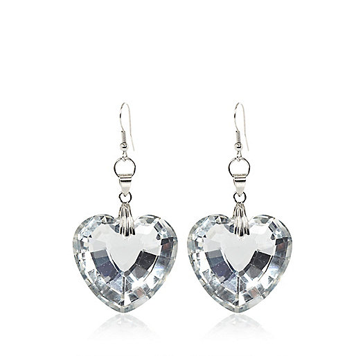 Clear gem stone heart drop earrings