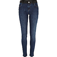 Dark wash PU trim Amelie superskinny jeans