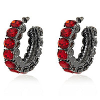 Red gem stone chunky hoop earrings