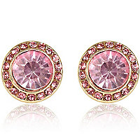 Pink gem stone stud earrings