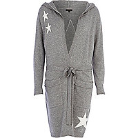 Grey star print knitted robe
