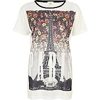 White floral Paris print t-shirt
