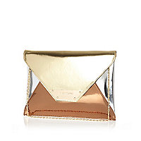 Gold metallic colour block clutch bag