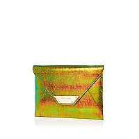 Iridescent envelope clutch bag
