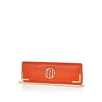 Orange snake slim clutch bag