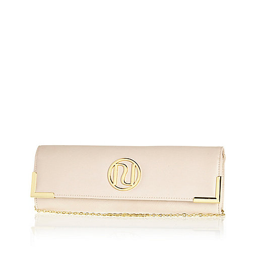 Cream snake slim clutch bag