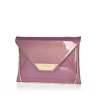 Purple high shine envelope clutch bag