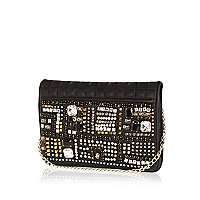 Black leather embellished clutch bag